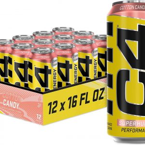 Cellucor Carbonated Zero Sugar Energy Drink, Pre Workout Drink + Beta Alanine, Cotton Candy, 16 Fluid Ounce Cans (Pack of 12)