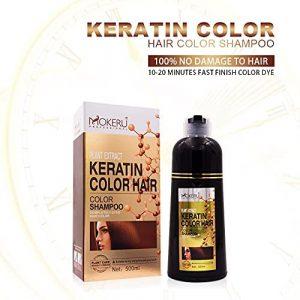 MOKERU KERATIN HAIR COLOR SHAMPOO (PLANT EXTRACT) 500ML - NATURAL BLACK