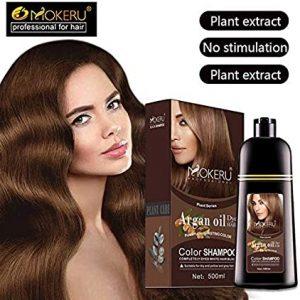 Mokeru 1pc 500ml Long Lasting Argan oil Extract Natural Organic Deep Brown Hair Color Shampoo Dry Hair Dye Shampoo for Women